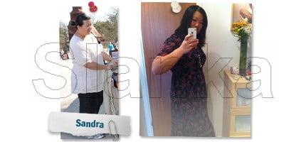 Sandra, Före och efter Slanka